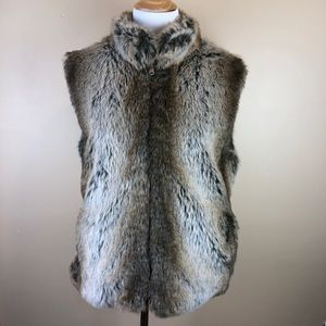 Giacca Faux Fur Vest Brown Soft Reversible Small